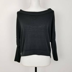 Poof Pullover Sweater Black Long Sleeve Slouchy
